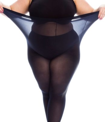 Plus size woman in black bra and tights wearing long and large plus size black tights