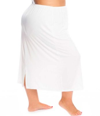 Plus size woman wearing white super plus size waist slip calf length