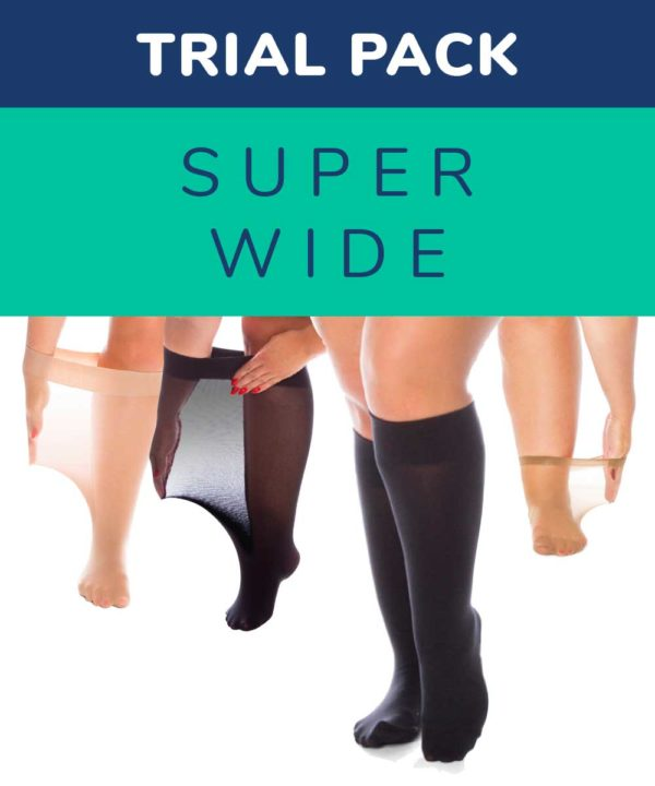 Text: Trial pack super wide knee highs. Four pairs women's legs wearing variety of sizes of natural and black plus size knee highs and anklets
